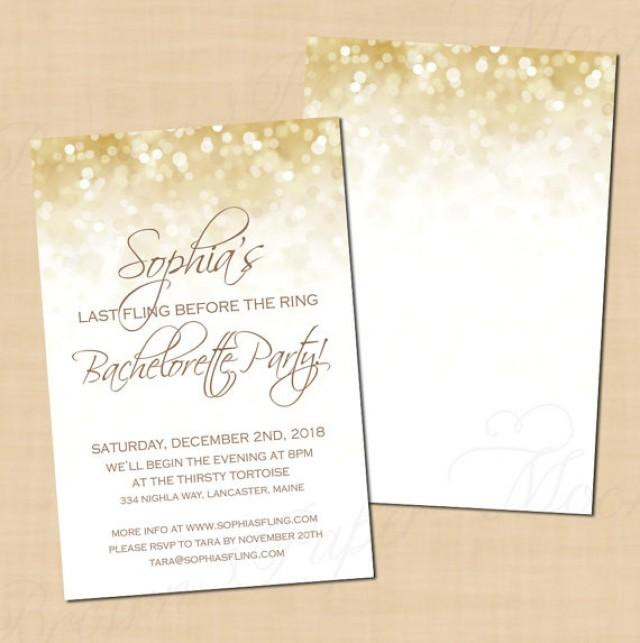 White Gold Sparkles Text Editable Bachelorette Party