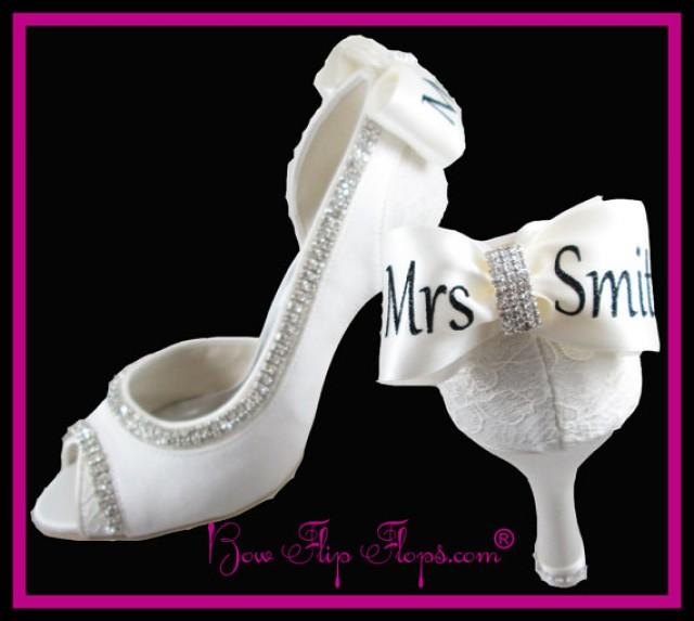 Mrs New Last Name Personalized Bridal Heels Wedding Ivory Shoes 3 5 Inch P Toe Satin Bow Rhinestone Bling Pumps Bride Gift 2302331 Weddbook