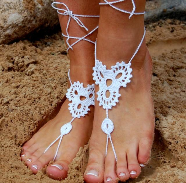 Beach Wedding Shoes Crochet Barefoot Sandals Bridal Accessories Nude Yoga Socks Foot Jewelry 2302734