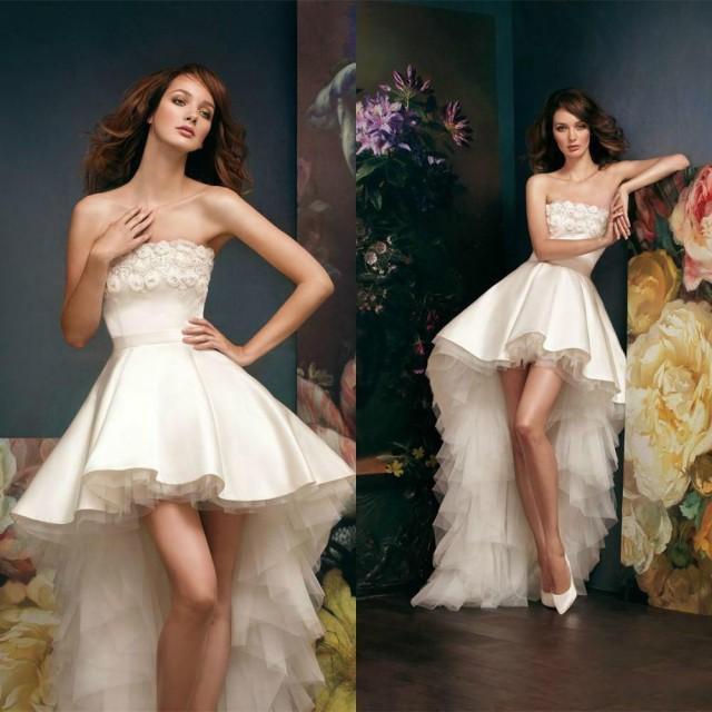 Buy 3 Get 1 Free Tires >> 2015 Short High Low Wedding Dresses Satin Applique Bateau ...