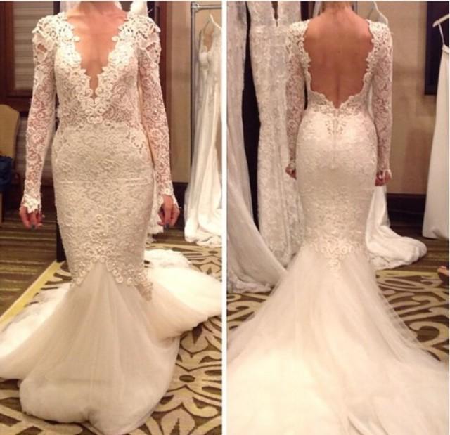 Sheer Lace Applique Long Sleeve Wedding Dress V Neck: Fashionable Vestido De Novia Wedding Dresses Sexy V Neck