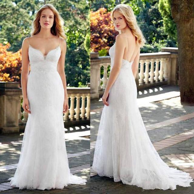 Eco Bridal Dresses For The Summer Bride: 2015 Summer Wedding Dresses White Ivory Spaghetti Straps