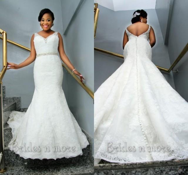 Vintage mermaid lace plus size wedding dresses 2015 v neck for Plus size vintage wedding dresses