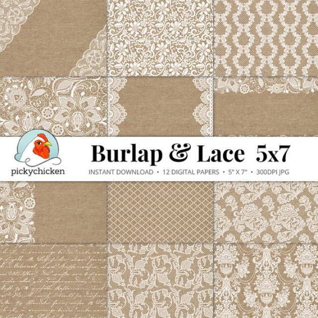 burlap lace digital paper 5x7 burlap lace rustic wedding