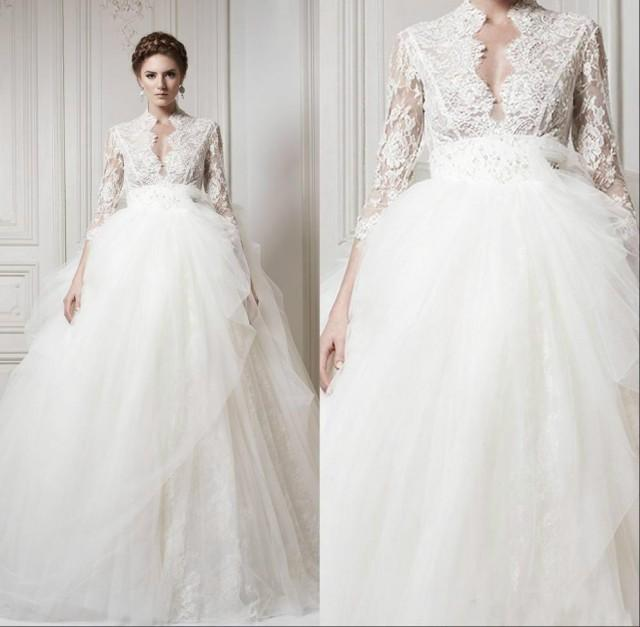 2015 wedding dresses with 3 4 long sleeve lace 2015 sheer for Shop online wedding dresses