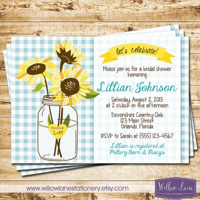 Sunflower Mason Jar Bridal Shower Invitation