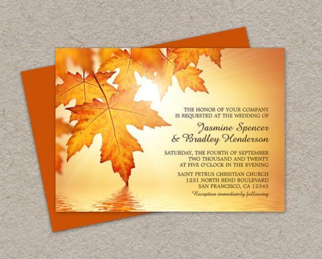 Diy Autumn Wedding Invitations: DIY Printable Fall Wedding Invitations With Leaves, Fall