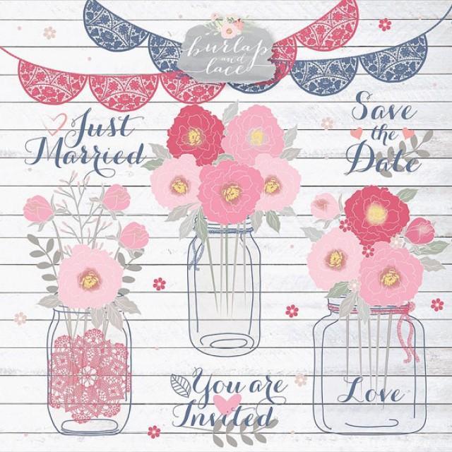 Peonies Wedding Mason Jar Clipart Flower Bridal Dahlia Cliparts Navy Blue Pink 2304019
