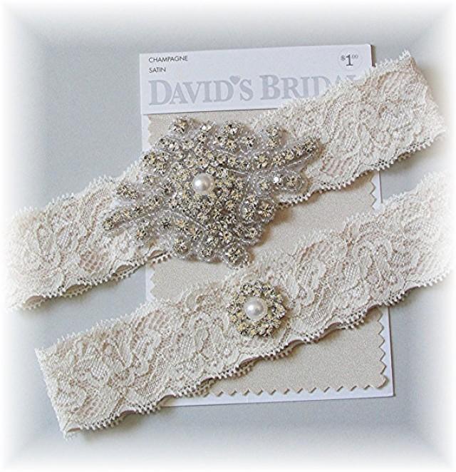 Vintage Lace Wedding Garter Set: Champagne Stretch Lace Wedding Garter Set