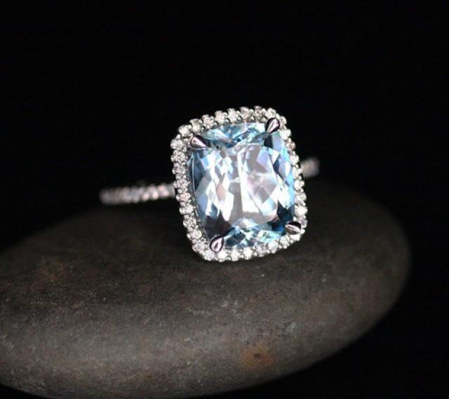 Flawless Aquamarine Engagement Ring Diamond Halo Ring In 14k White