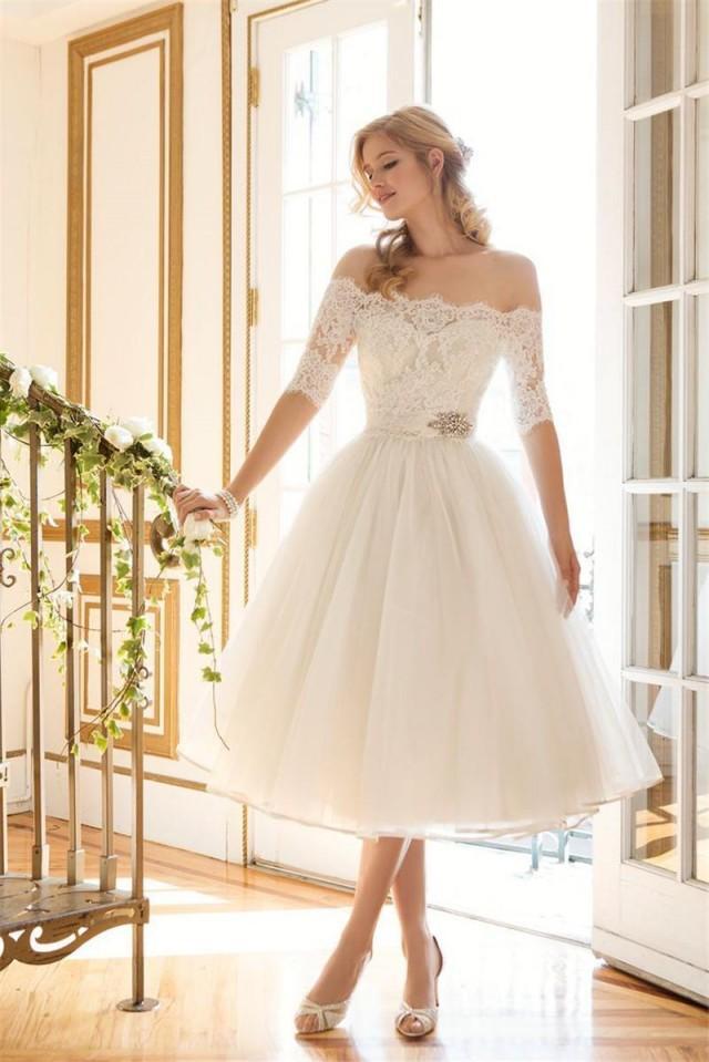 Short off shoulder lace wedding dresses 1 2 long sleeve for Lace long sleeve short wedding dress