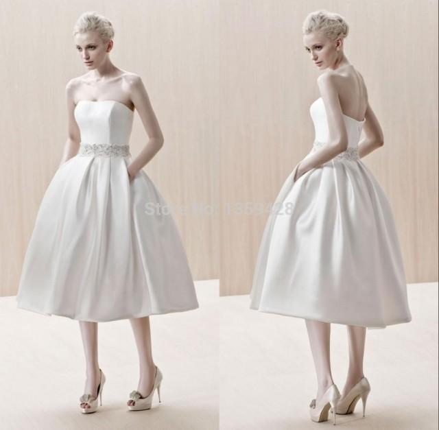 8210b6a4ca7b Vintage Strapless Short Beach Wedding Dress Plus Size Sash A-Line  Sleeveless Spring Cheap Garden Beads Crystals Robe De Mariage Tea Length  Online With ...