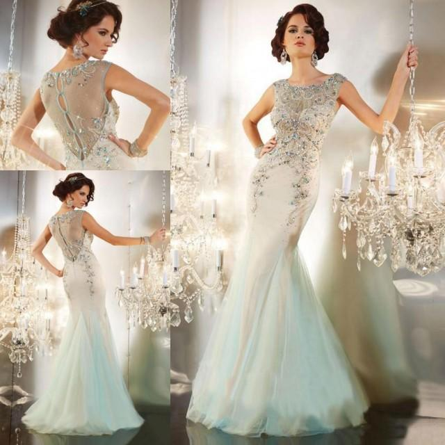 Formal Evening Gowns By Designers: Designer Celebrity Evening Dresses Crystals Beaded Mermaid