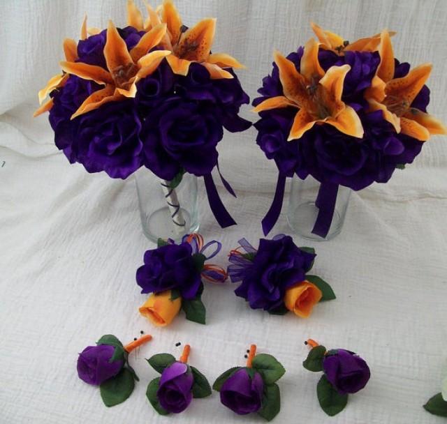 Dark Purple Flowers Wedding Bouquet - Flowers Healthy
