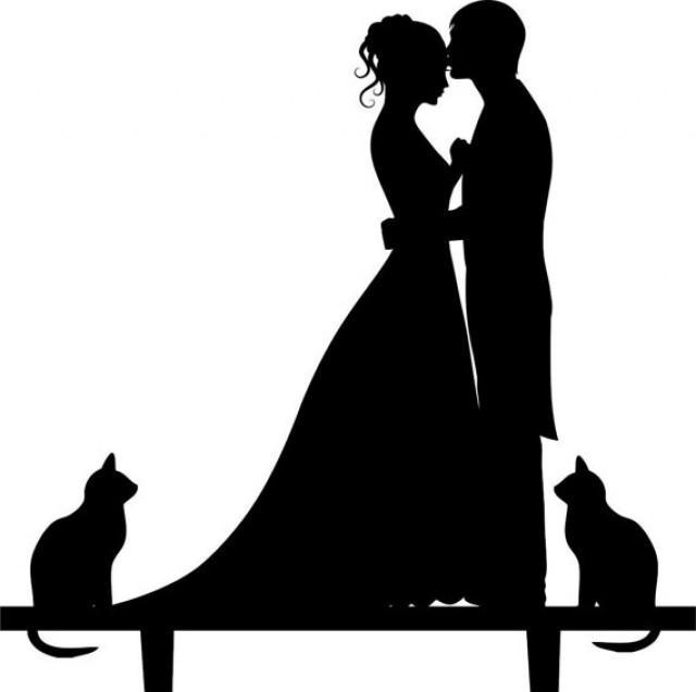 Modern Bride And Groom Cake Topper