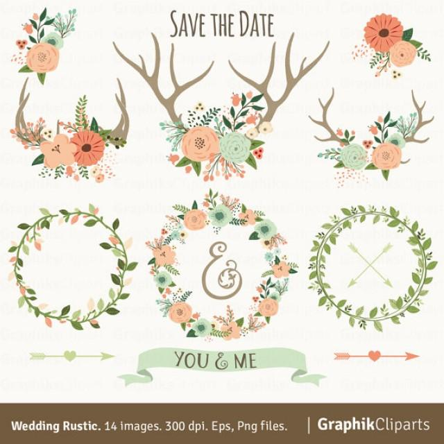 Rustic Wedding Clipart WEDDING CLIPART Floral Antlers Wreaths Arrows 14 Images 300 Dpi Eps Png Files Instant Download 2304578