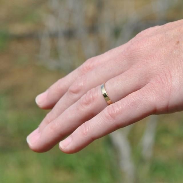 18K Yellow Gold Hand Forged 3mm Smooth Wedding Band Or Ring Size 625 Through 9 Any Available Sea Babe Jewelry 2304682
