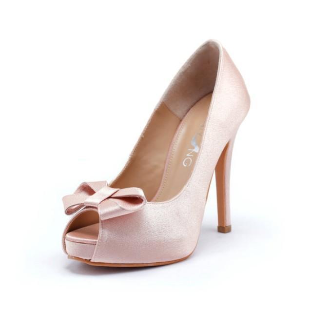 sweetheart wedding shoes in blush silk satin valentine days shoes nude blush bridal shoes light pink wedding heels 2304743 weddbook