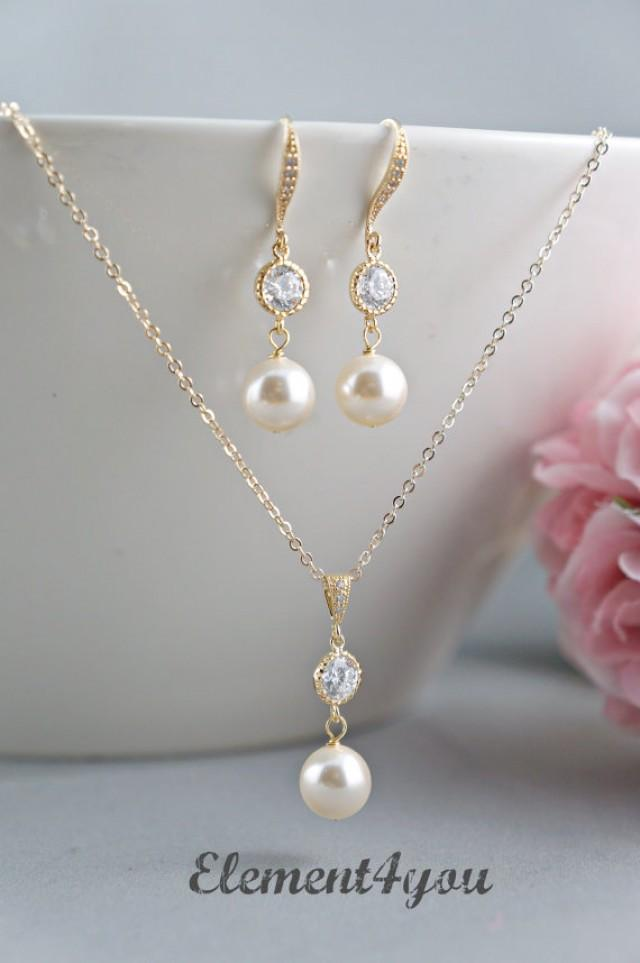 Bridal Jewelry Set Bridesmaid Necklace Earrings Set Pearls