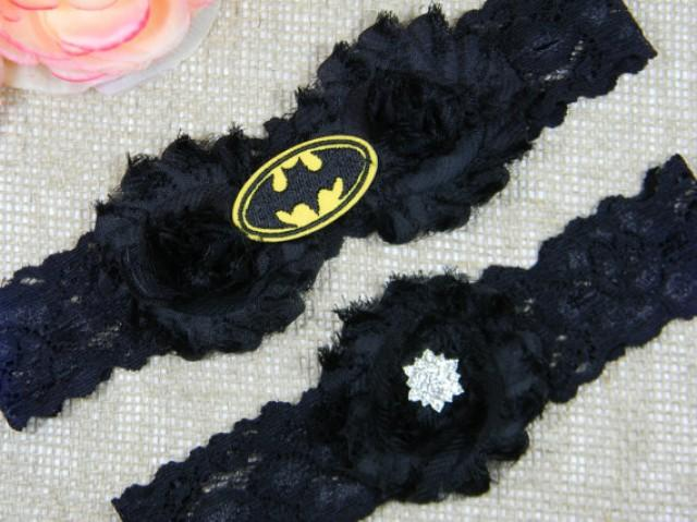 Batman Wedding Garter Set Bridal And Toss Super Hero All Black Chiffon Shabby Flower Belt Lace Garters 2305423