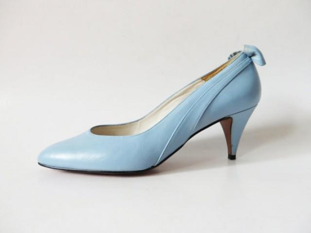 Mother Of The Bride Shoes And Accessories: Vintage 80s Light Blue Wedding Shoes With Bow Genuine