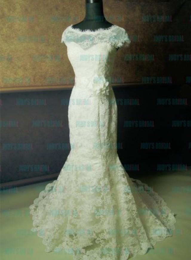 Jw12135f Flare Fitted Lace Overlay Mermaid Wedding Dress
