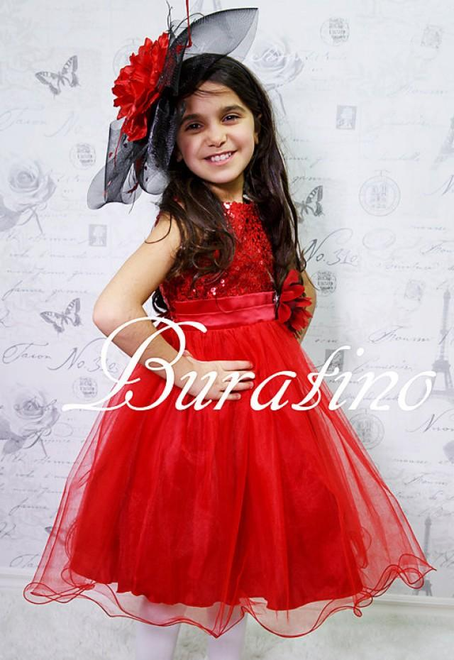 Flower girl dress wedding red sequin flower girl dress for Dresses to wear to a christmas wedding