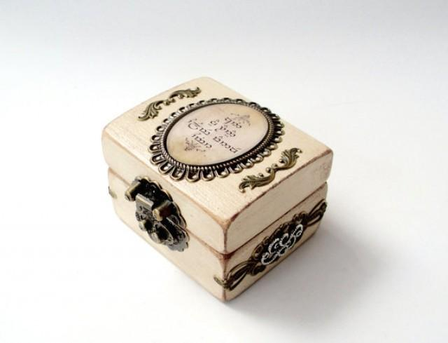 Engagement Ring Box   Lord Of The Rings Inspired Wedding   Ring Bearer Box    Antiqued Rustic White #2306869   Weddbook