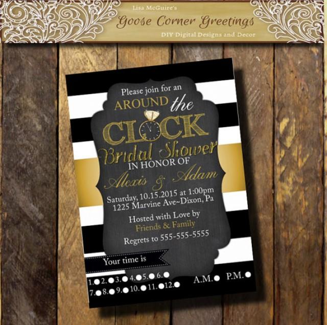 choose colors around the clock bridal shower invitation black white gold striped baby shower invite clock shower house shower 2307097 weddbook