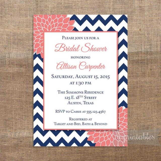 navy coral bridal shower invitation printable navy blue chevron and coral mum bridal invite wedding shower invitation 2307330 weddbook