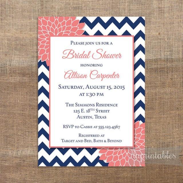 Navy C Bridal Shower Invitation Printable Blue Chevron And Mum Invite Wedding 2307330 Weddbook