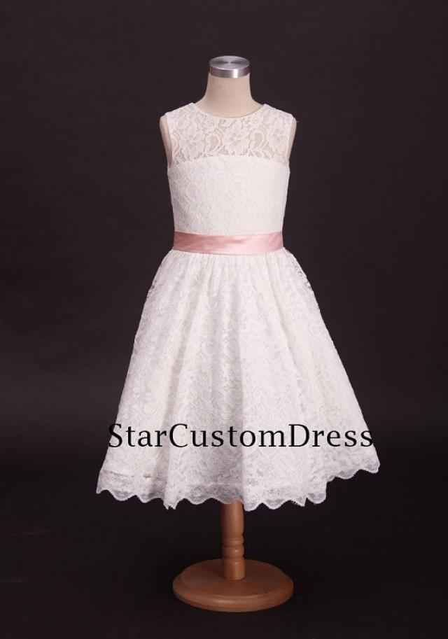 Ivory Lace Flower Girl Dress With Pink Belt For Weddings