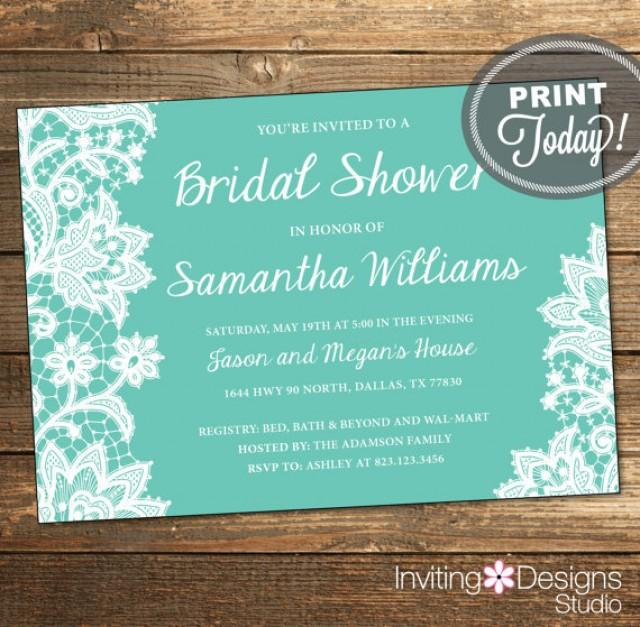 Lace Bridal Shower Invitation Wedding Shower Invitation Lace Aqua Tiffany Blue White Printable File Custom Order Instant Download 2307359 Weddbook