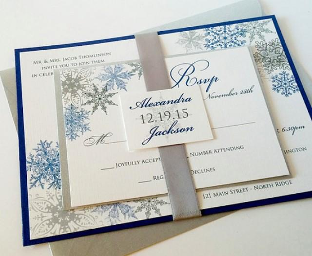 Wedding Invitations Royal Blue And Silver: Lacy Snowflake Formal Wedding Invitation Suite