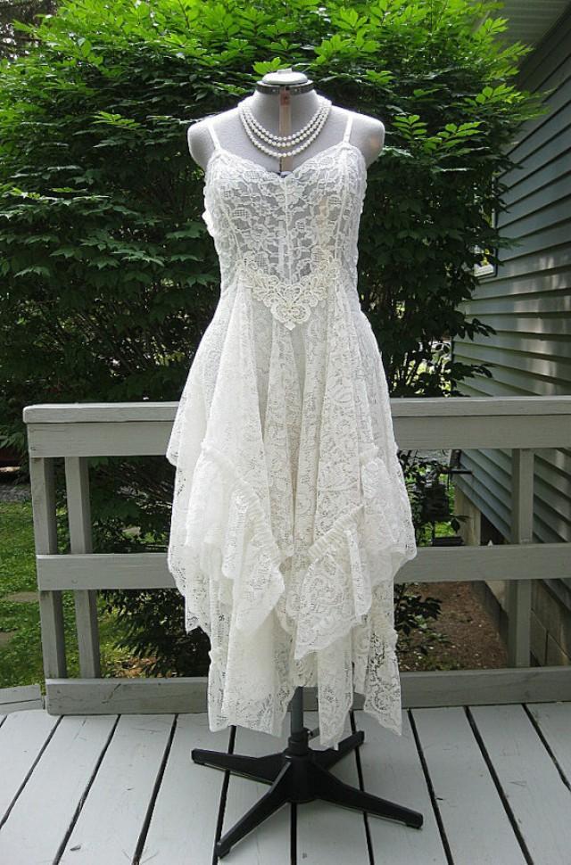 Off white alternative bride tattered boho gypsy hippie for Where to buy boho wedding dresses