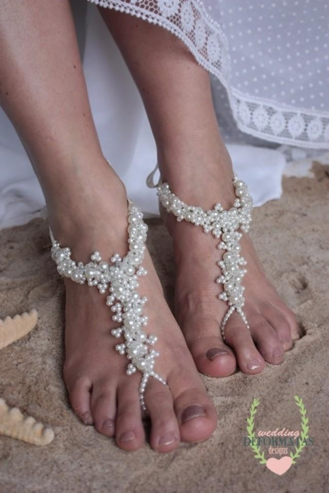Beach Wedding Foot Jewelry Bridal Crystal Pearl Barefoot Sandals