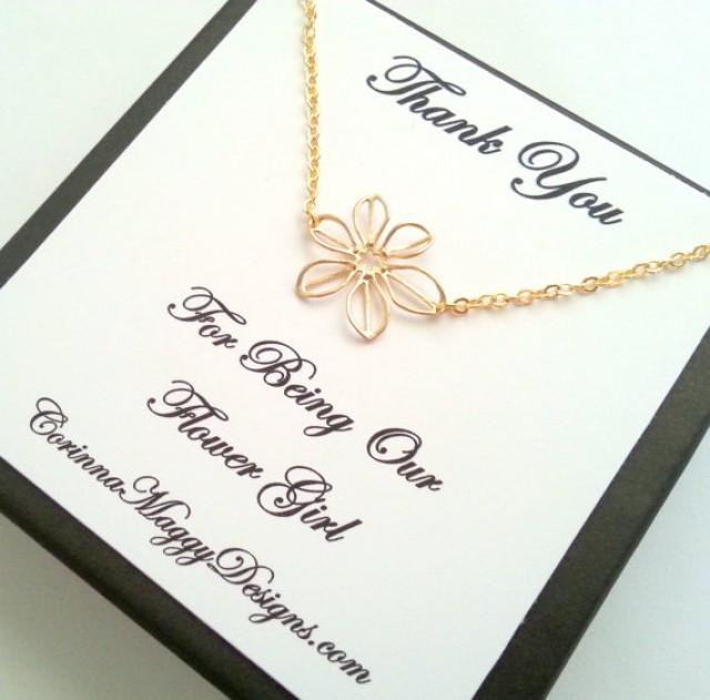 Flower Girl Gift, Silver Or Gold Sunflower Necklace, Bridal Party ...