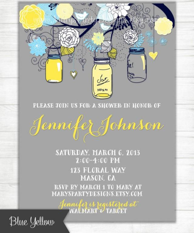 Royal Blue Yellow Navy Gray Mason Jars Invitation - Shabby Chic ...