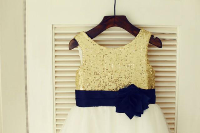 614956657b Gold Sequin IvoryTulle Flower Girl Dress Navy Blue Flower Belt Children  Toddler Party Dress for Wedding Junior Bridesmaid Dress