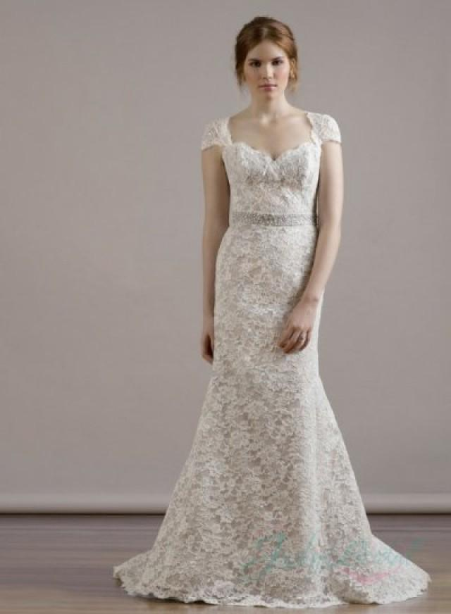Sweetheart neck cap sleeves keyhole back lace sheath for Wedding dresses with capped sleeves