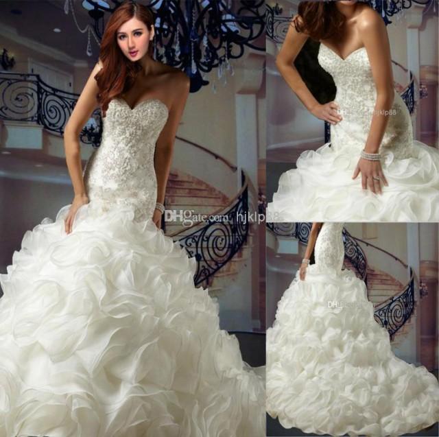 Buy 2014 new super luxury ruffles organza applique beaded for Low cut mermaid wedding dress