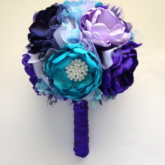 Large Bouquet - Royal Purple, Lavender, Teal, And Navy Blue ...