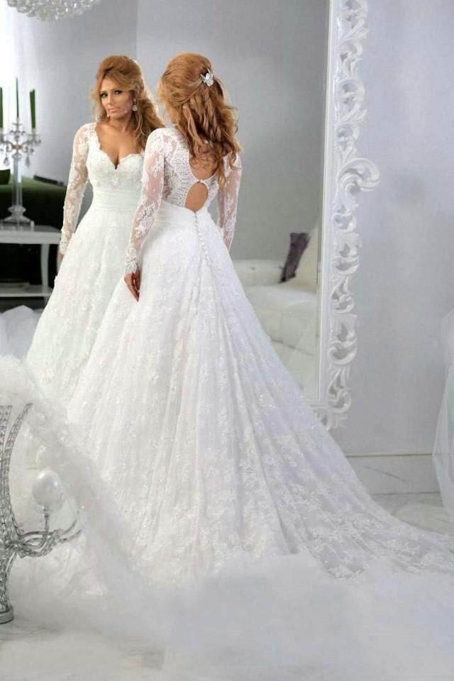 b2e433ae Vintage Lace Long Sleeves Beaded A-line Wedding Dresses Ball Tulle Applique  Sequins Sheer 2015 V-Neck Sweep Train Backless Bridal Gowns Online With ...