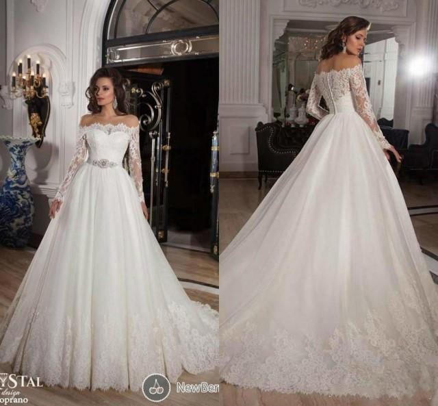 2015 Sheer Long Sleeves Lace A Line Wedding Dresses