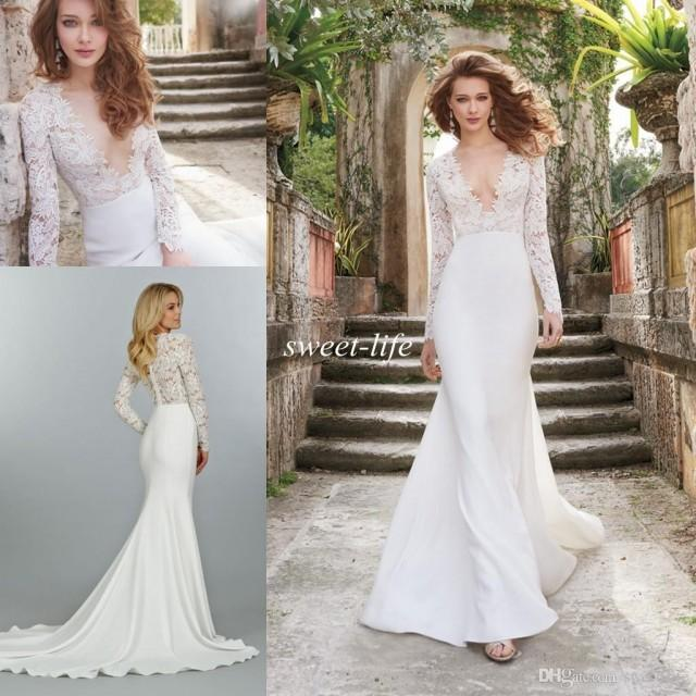 f67cf29d46b 2015 Fall Lace Wedding Dresses Illusion Long Sleeve See Through Deep V Neck  Sweep Train Satin A Line Vintage Custom Made Bridal Ball Gowns Online With  ...