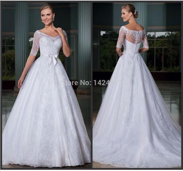 Graceful Sheath Wedding Dresses 2015 Summer A Line V Neck: Elegant 2015 Wedding Dresses With Half Sleeve Illusion