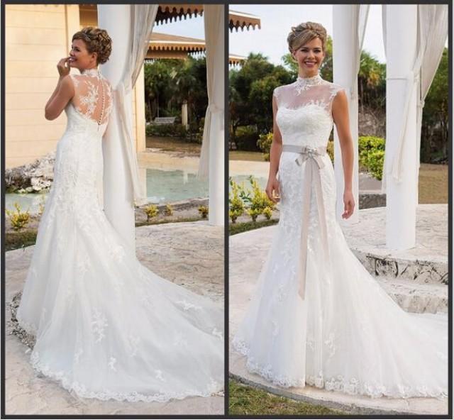 Elegant 2015 Wedding Dresses With Sash High Neck Applique