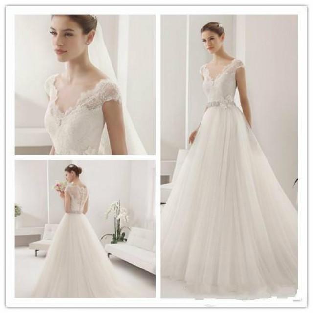 Simple Elegant Lace Wedding Dresses Naf Dresses: Elegant Simple Lace Applique Wedding Dresses V-Neck Tulle