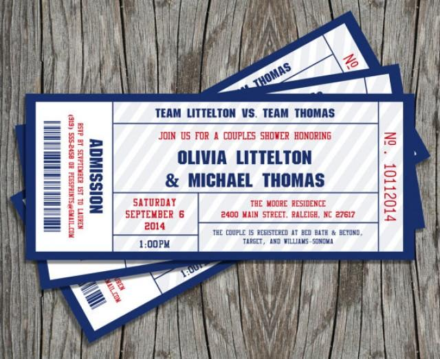 Couples Shower Sports Ticket Invitation (Printable