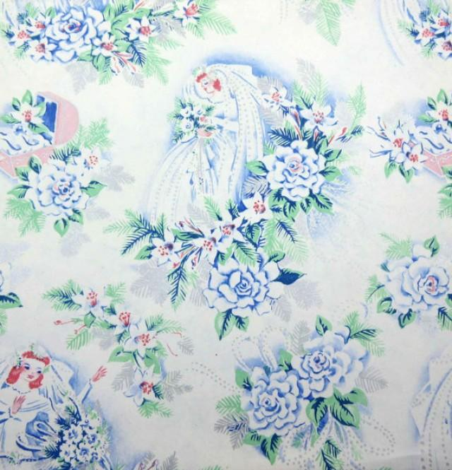 Wedding Gift Wrap Etiquette: Vintage Wedding Or Bridal Shower Wrapping Paper Or Gift